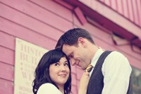Engagement pictures taken in historical downtown Cleburne by Cleburne photographer Taylor Jackson of Barefeet Photography